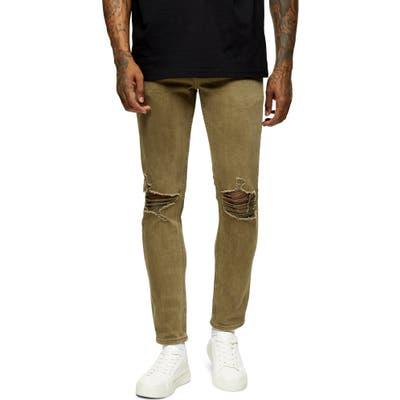 Topman Ripped Skinny Fit Jeans, Green