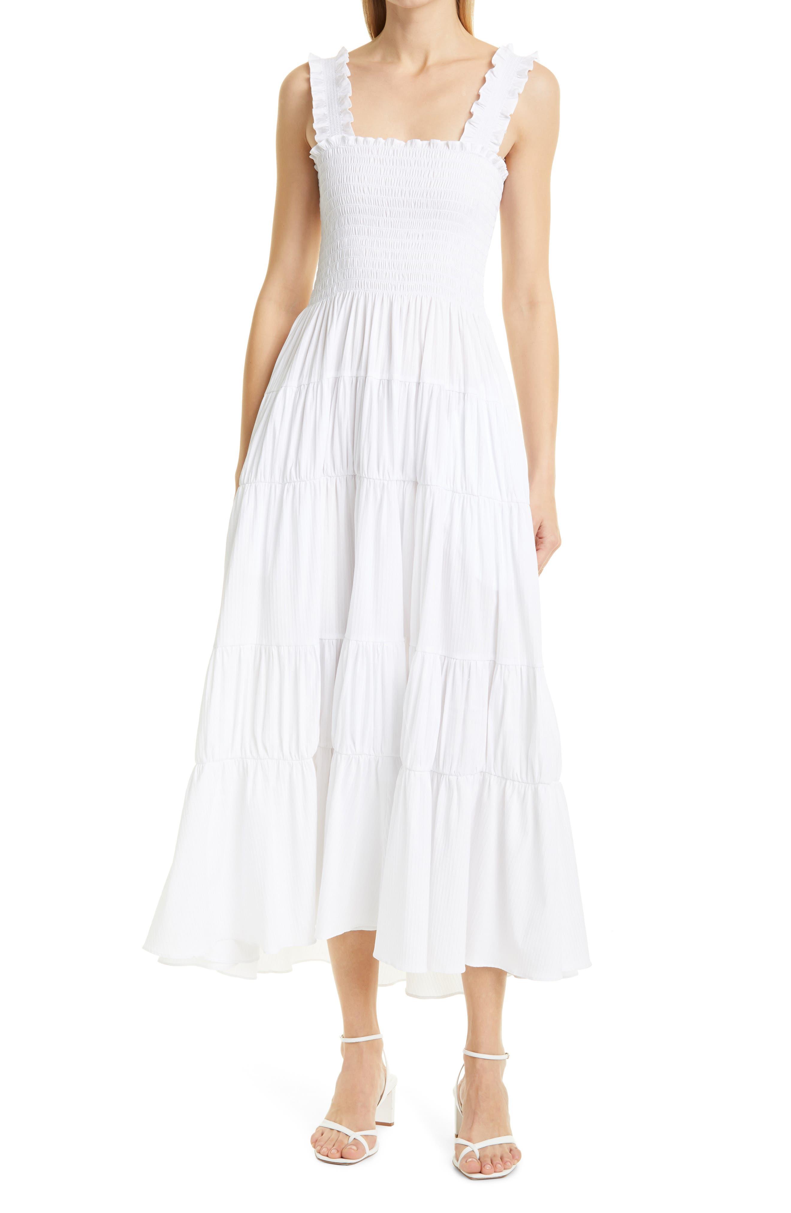 Smocked Cotton Blend Midi Dress
