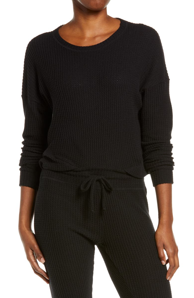 BEYOND YOGA Brushed Up Crop Pullover, Main, color, BLACK