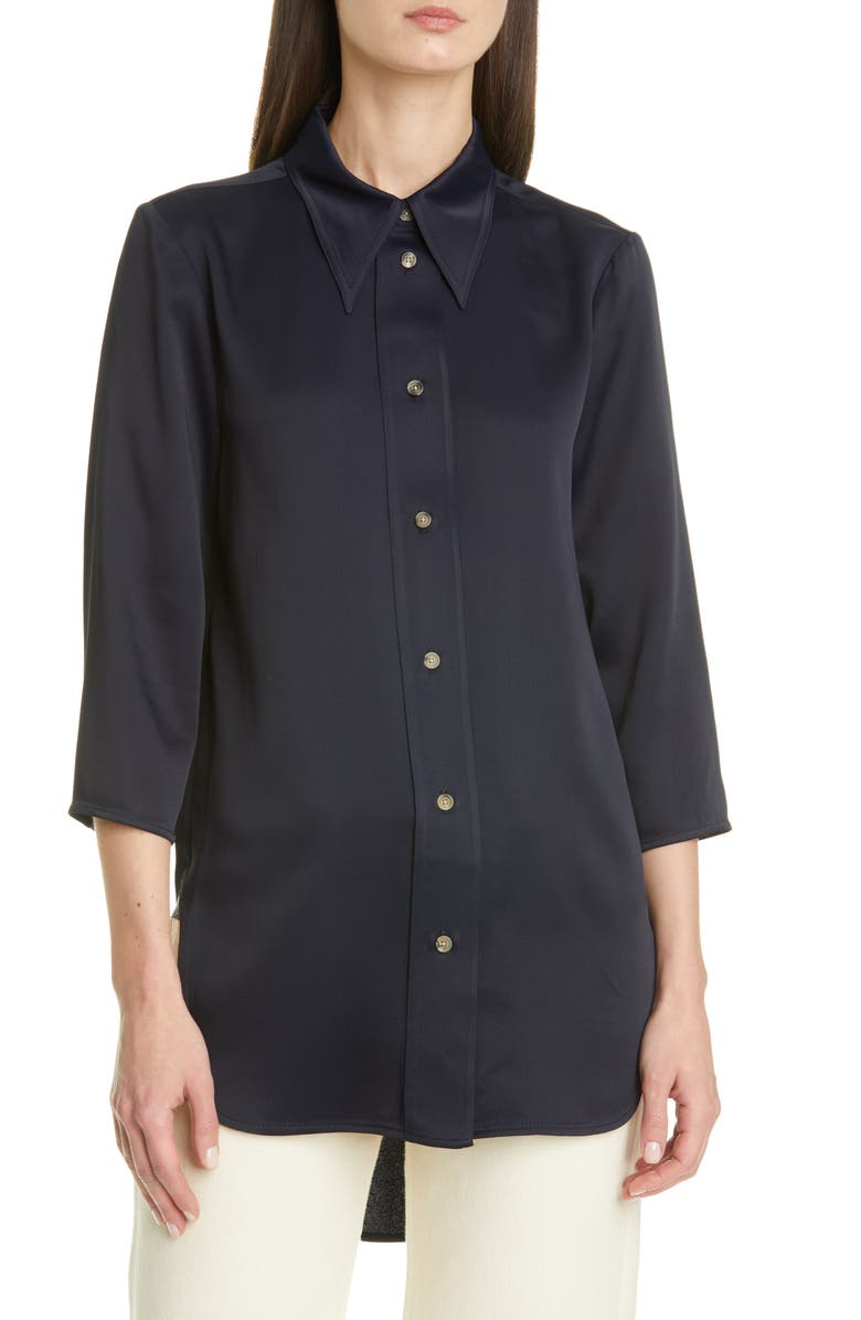 KHAITE Nayla Crepe Back Satin Shirt, Main, color, MARINE