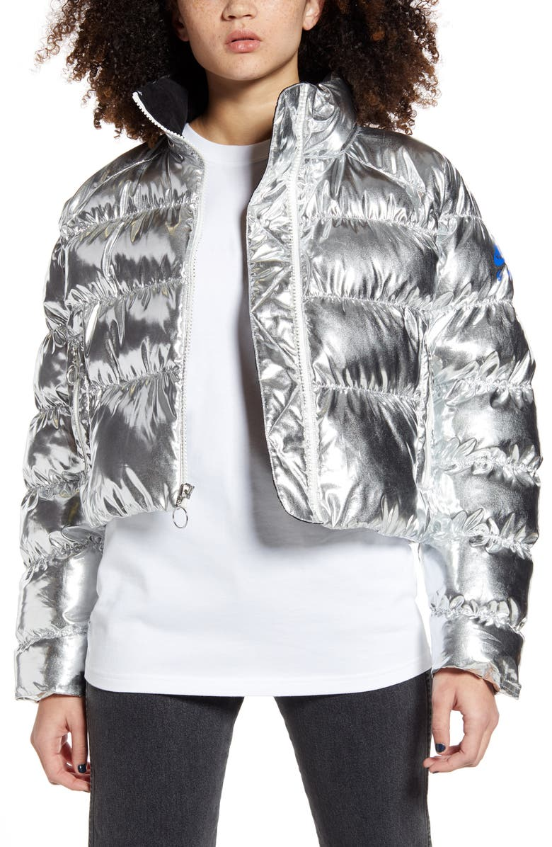NIKE x Olivia Kim NRG Puffer Coat, Main, color, METALLIC SILVER/ OFF NOIR