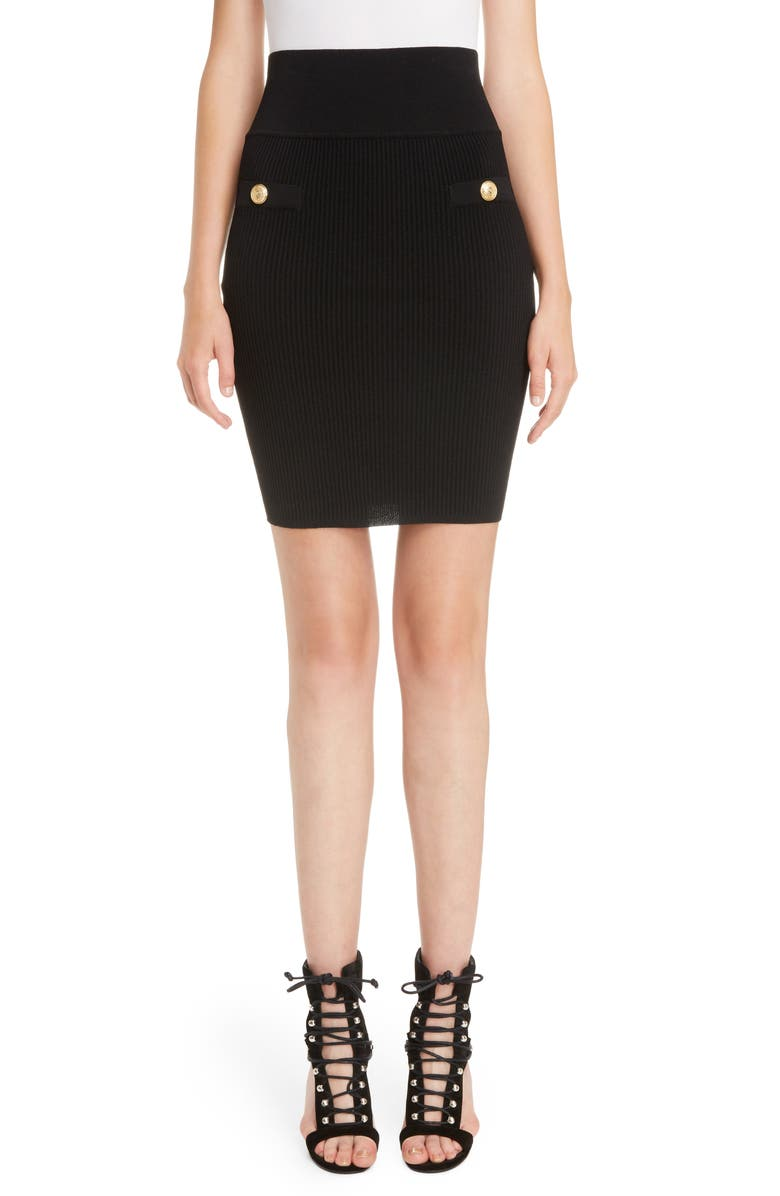 BALMAIN High Waist Rib Knit Skirt, Main, color, 001