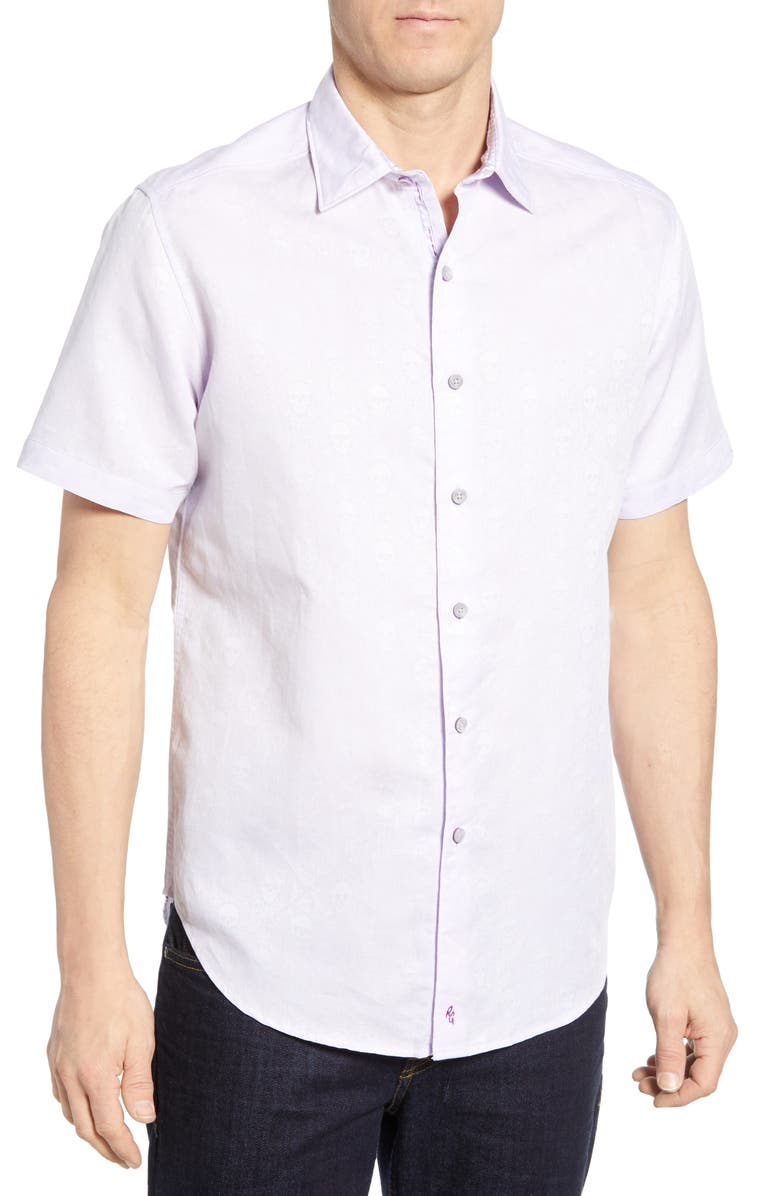 ROBERT GRAHAM Temple of Skull Classic Fit Shirt, Main, color, LILAC
