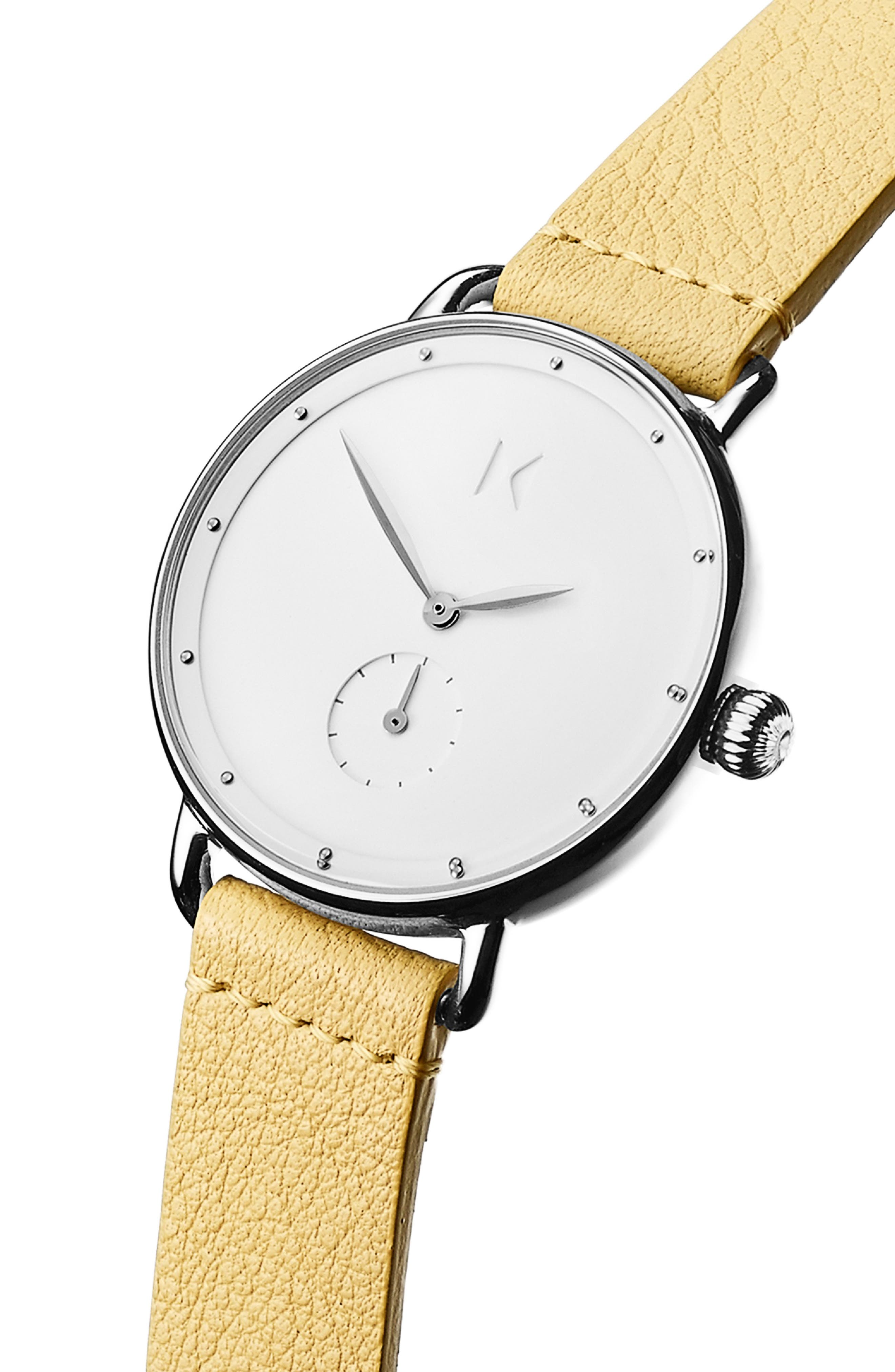 ,                             Bloom Leather Strap Watch, 36mm,                             Alternate thumbnail 4, color,                             YELLOW/ WHITE/ SILVER