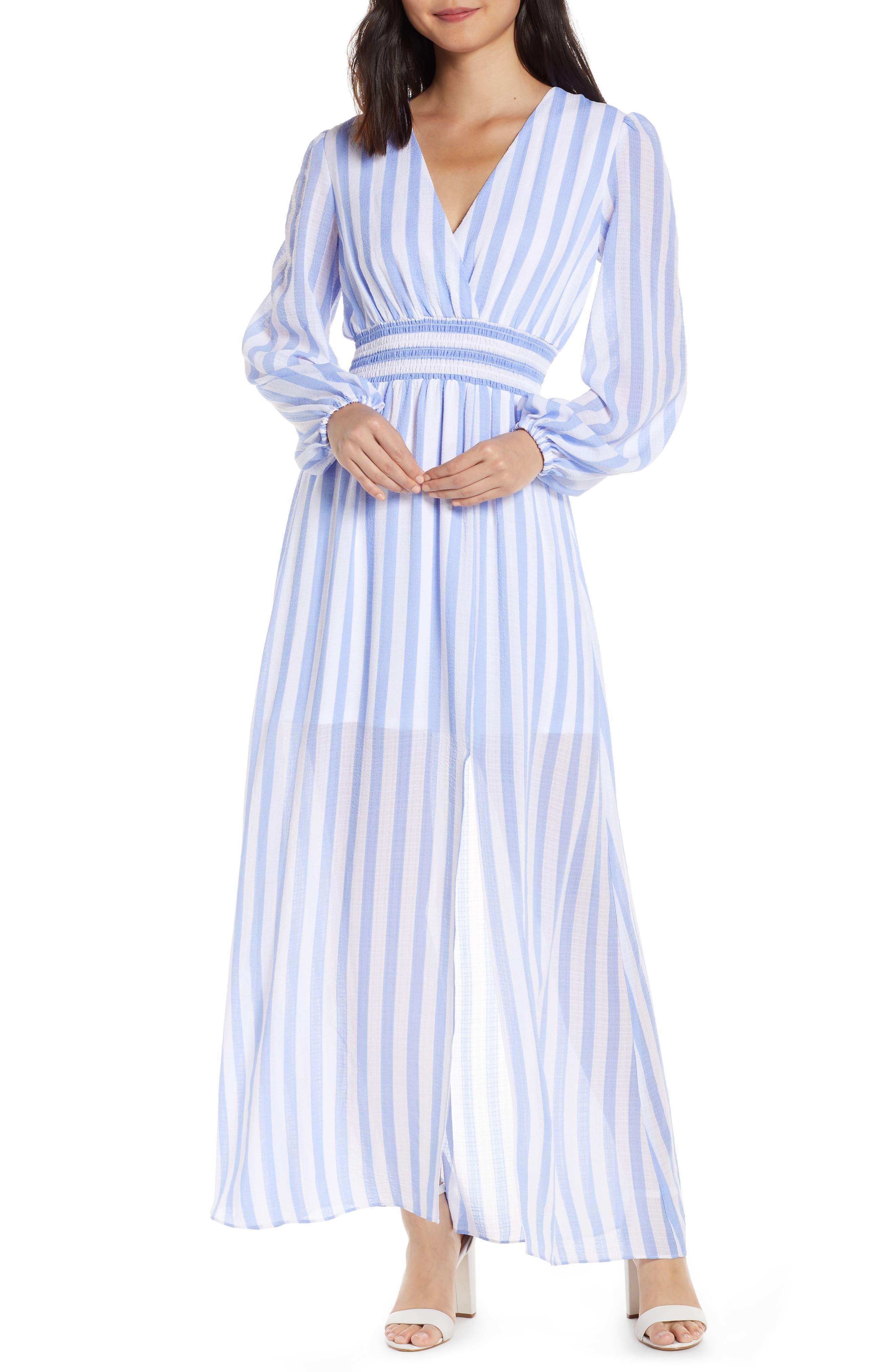 Avec Les Filles Stripe Long Sleeve Maxi Dress, Blue