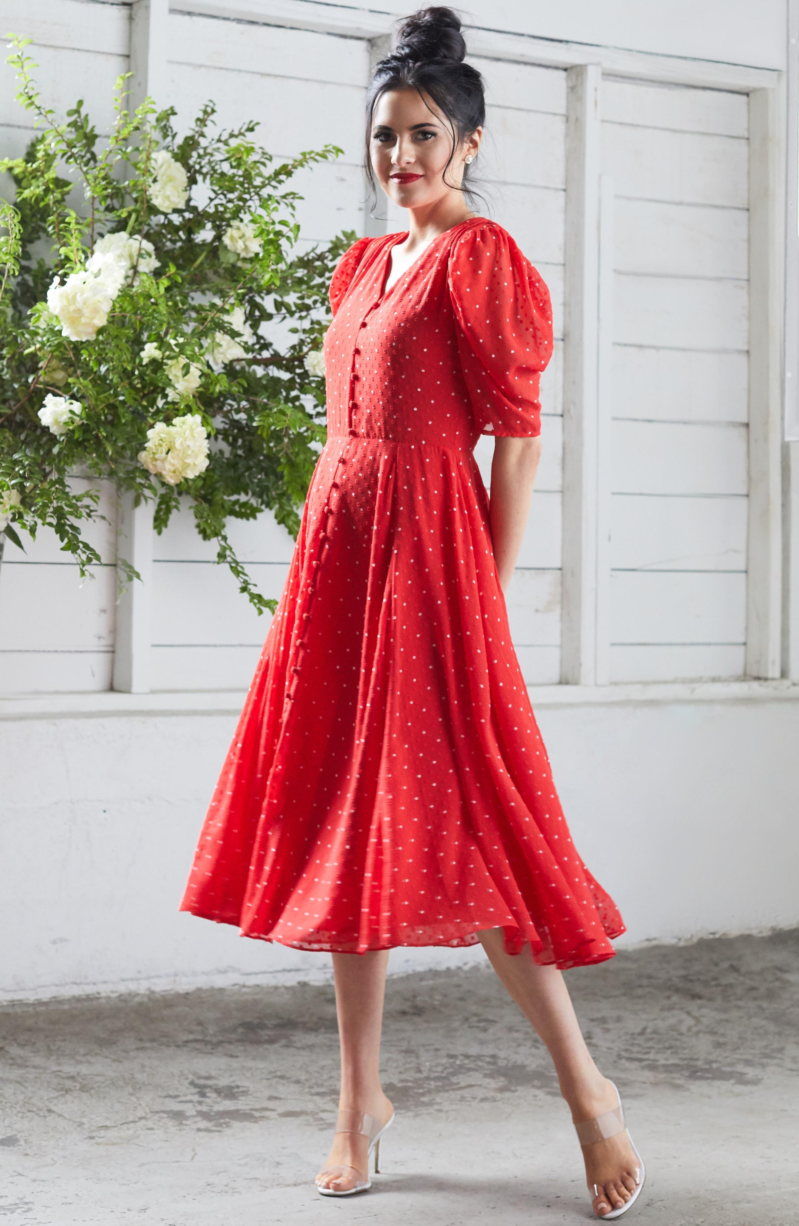 ,                             Chiffon A-Line Dress,                             Alternate thumbnail 10, color,                             RED CHINOISE DOT