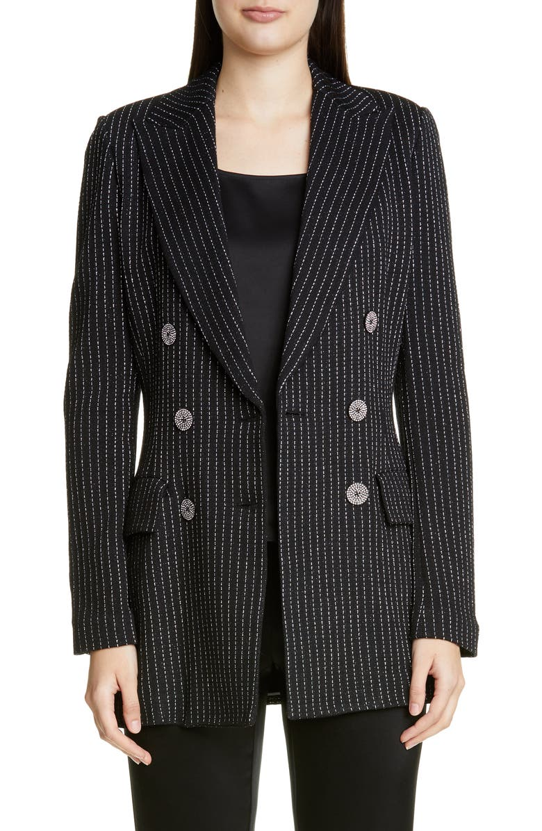 ST. JOHN COLLECTION Evening Paillette Pinstripe Double Breasted Blazer, Main, color, CAVIAR/ SILVER