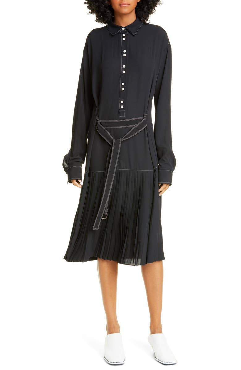 PROENZA SCHOULER WHITE LABEL Proenza Schouler PSWL Long Sleeve Drop Waist Shirtdress, Main, color, BLACK