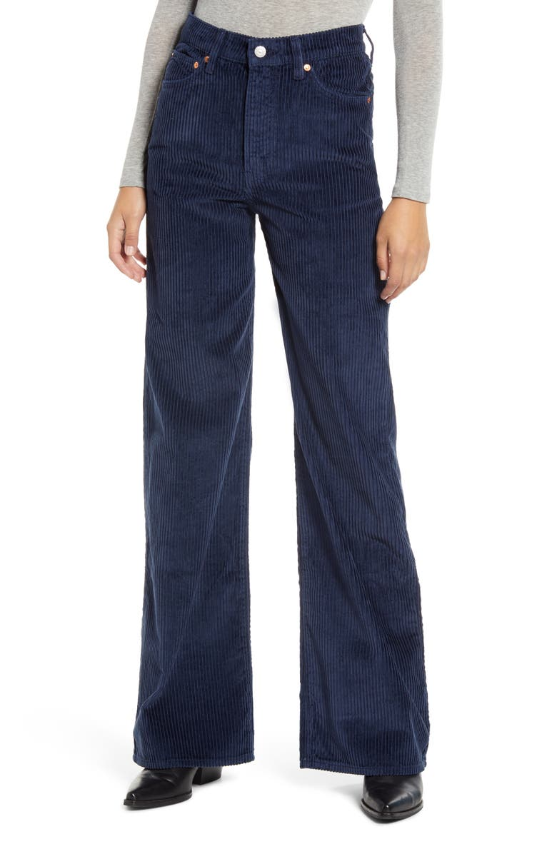 LEVI'S<SUP>®</SUP> Ribcage Wide Leg Corduroy Pants, Main, color, NAVY BLUE CORD