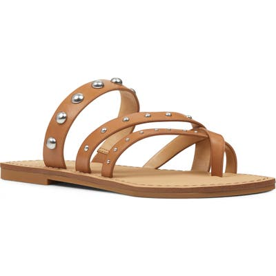 Nine West Clara Studded Toe Loop Sandal, Brown