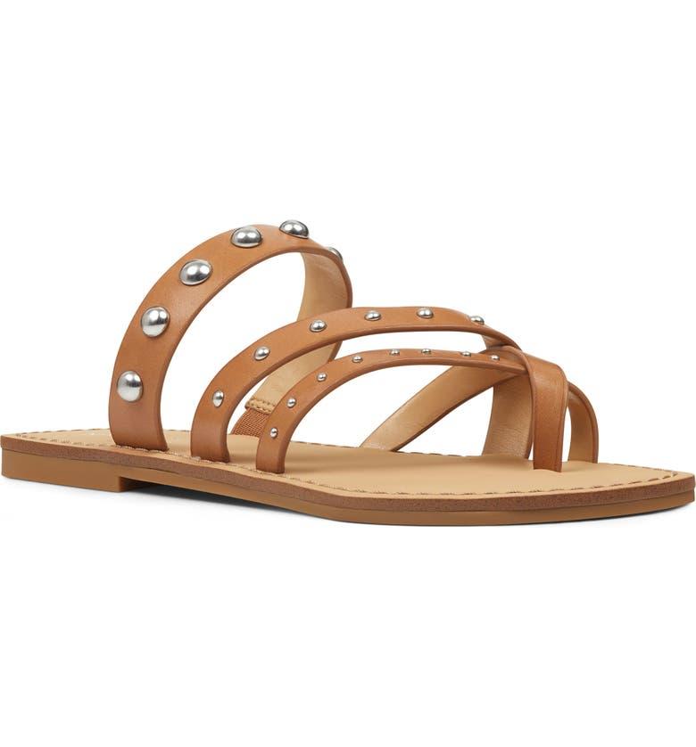 NINE WEST Clara Studded Toe Loop Sandal, Main, color, LUGGAGE LEATHER