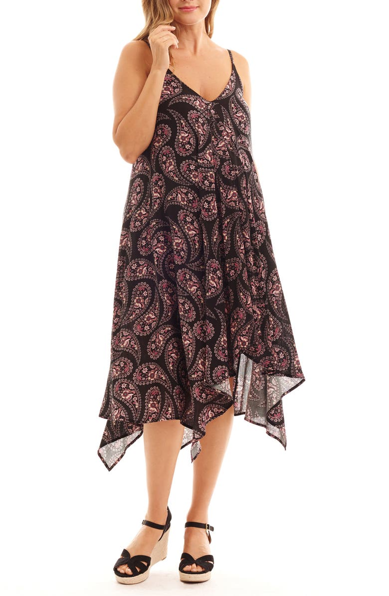 EVERLY GREY Birgit Maternity/Nursing Dress, Main, color, BLACK PAISLEY