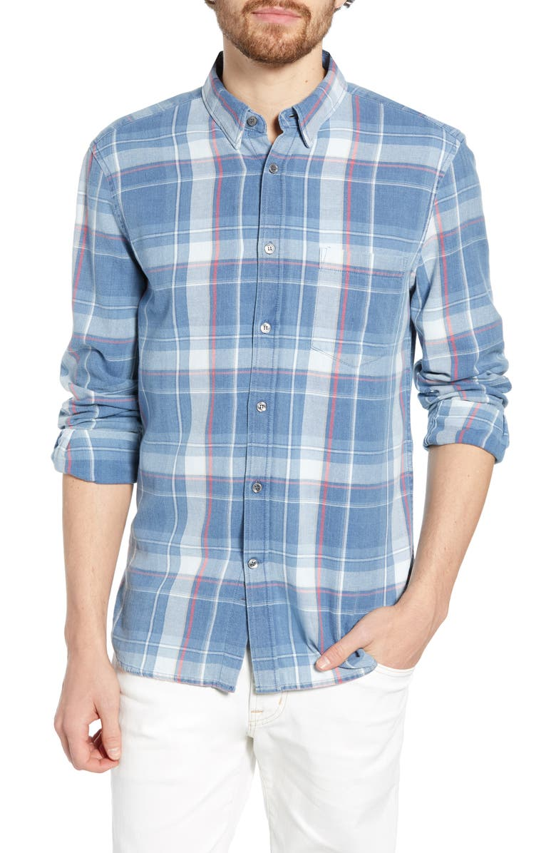FRENCH CONNECTION Bleached Check Slim Fit Shirt, Main, color, BLEACH CHECK