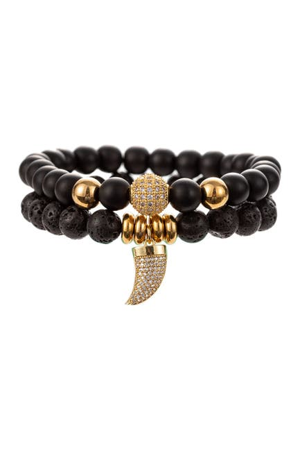 Image of Eye Candy Los Angeles Eli Agate Beaded Bracelet Set with Brass CZ Crystal Horn Charm
