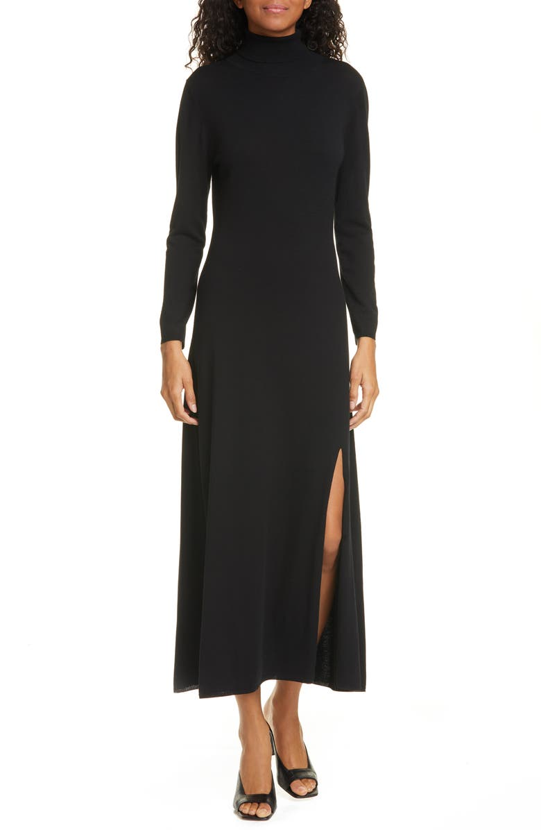 RIXO Antonia Long Sleeve Midi Sweater Dress, Main, color, BLACK