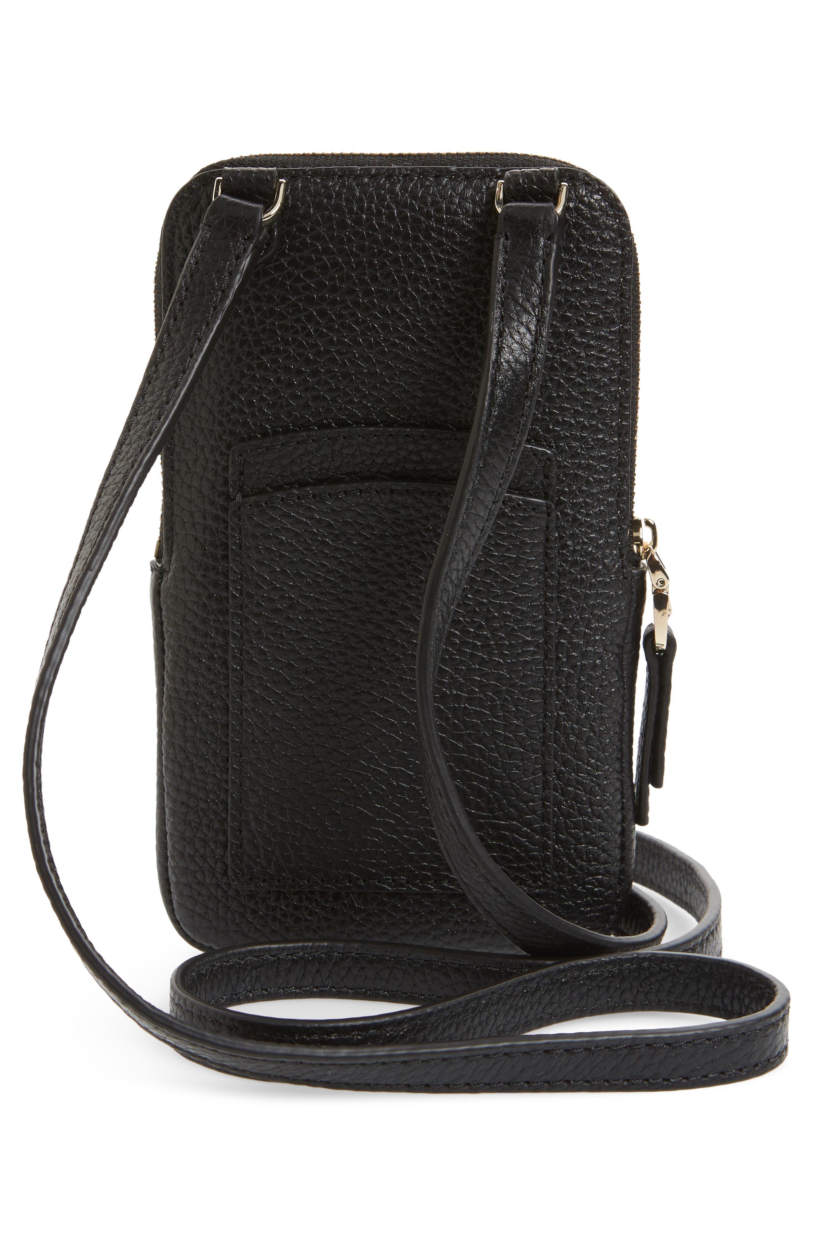 ,                             polly leather phone crossbody bag,                             Alternate thumbnail 4, color,                             BLACK