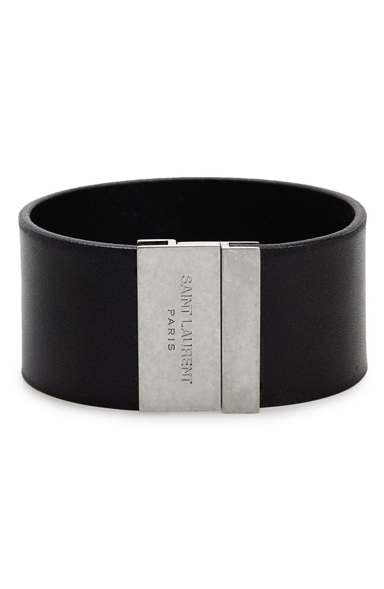 305c2a7751c Saint Laurent YSL Calfskin Leather Cuff Bracelet | Nordstrom