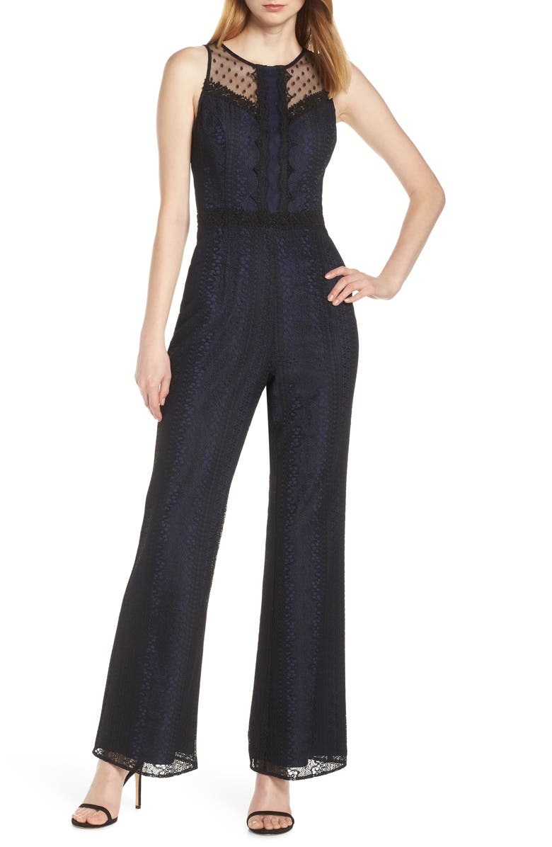 HARLYN Illusion Neck Lace Jumpsuit, Main, color, 001