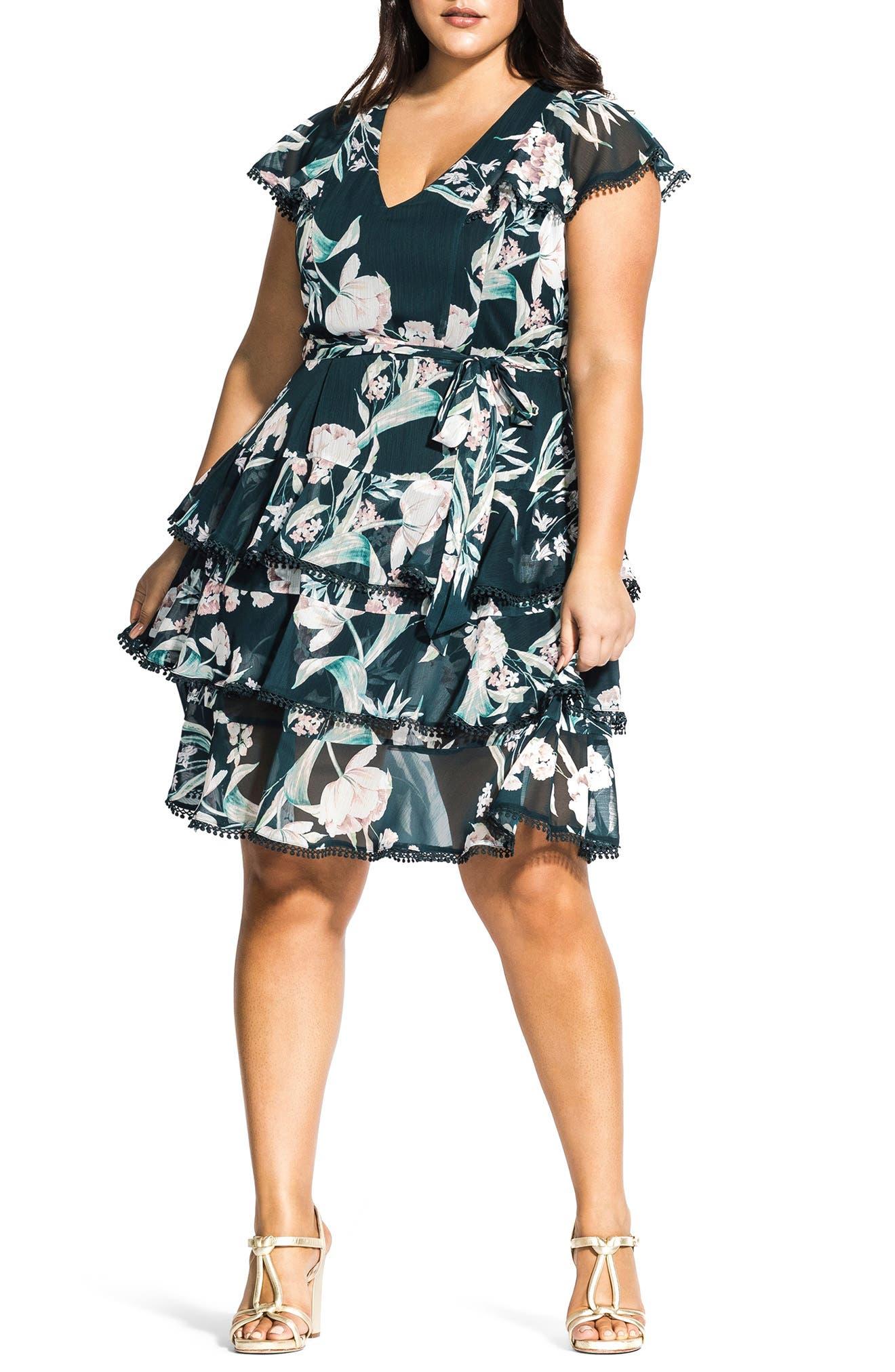 Plus Size City Chic Fresh Fields Floral Print Dress, Blue