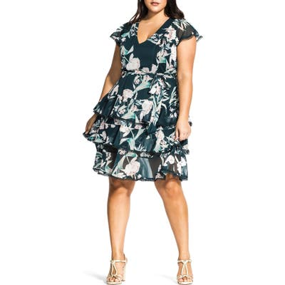 Plus Size City Chic Fresh Fields Floral Print Dress, Green