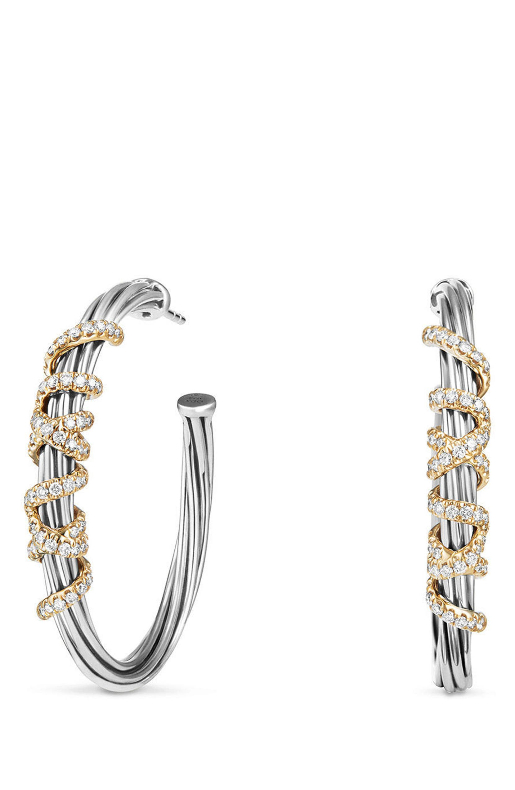 c71c44077c97d David Yurman Helena Large Hoop Earrings with Diamonds & 18K Gold ...