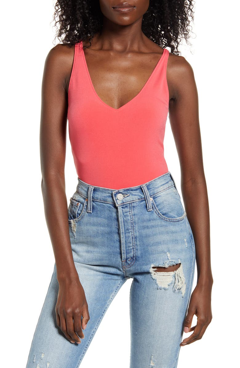LEITH Double-V Bodysuit, Main, color, PINK PARADISE
