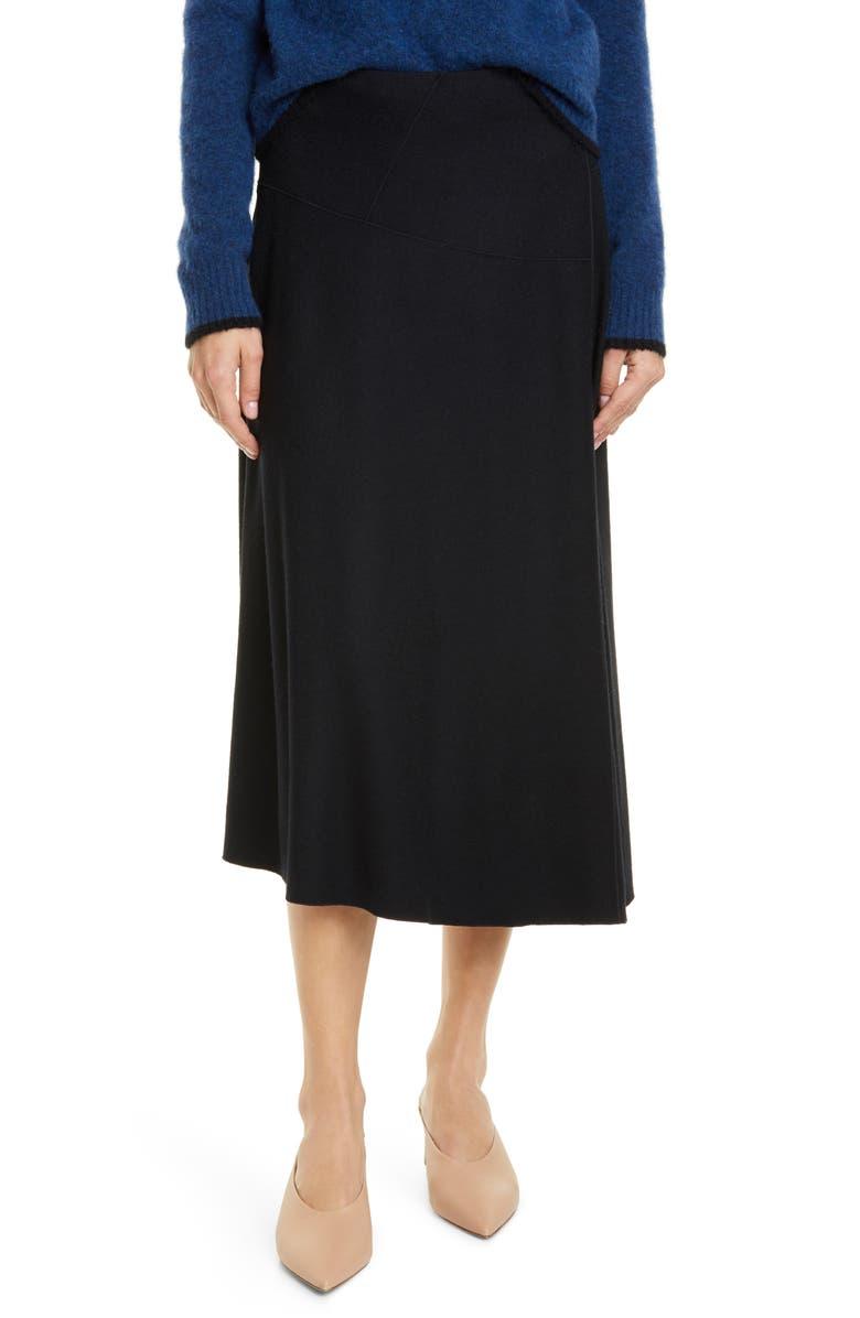 VINCE Paneled Wool Blend Skirt, Main, color, BLACK