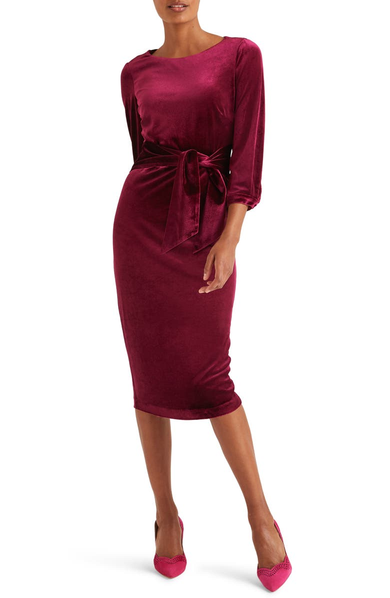 BODEN Julianna Velvet Tie Waist Sheath Dress, Main, color, BEETROOT