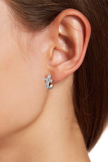 Image of Savvy Cie Sterling Silver CZ Cross 12mm Huggie Hoop Earrings