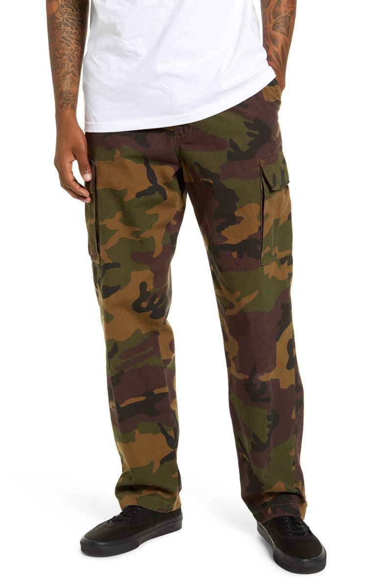 VANS Nailhead Camo Cargo Pants, Main, color, 001