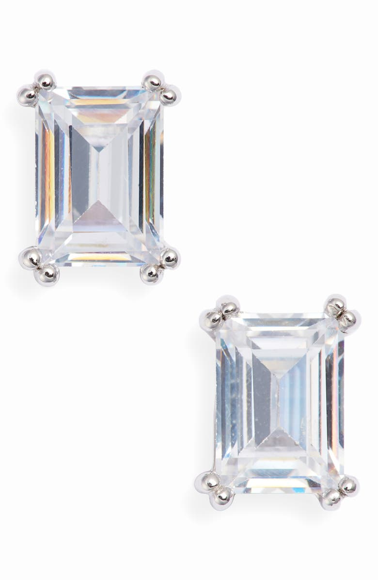 NORDSTROM 2ct tw Cubic Zirconia Stud Earrings, Main, color, CLEAR- SILVER
