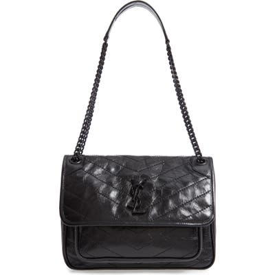 Saint Laurent Medium Niki Leather Shoulder Bag - Black