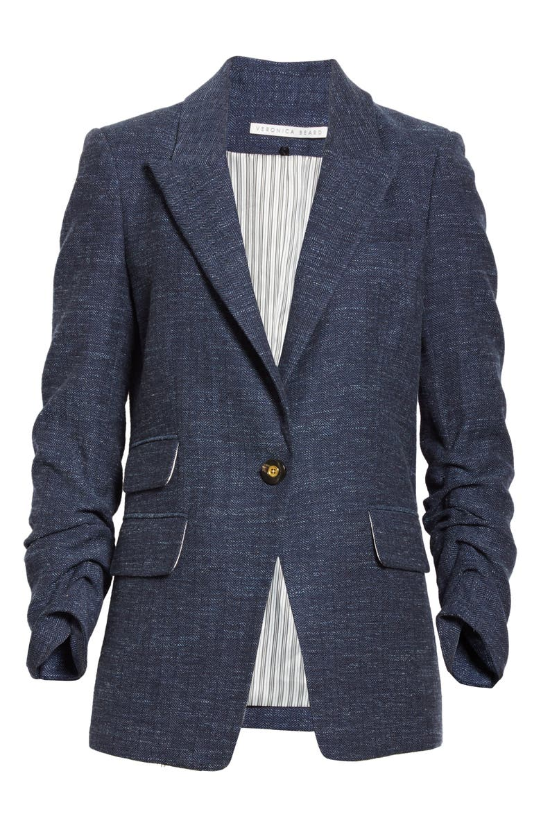 VERONICA BEARD Martel Herringbone Dickey Jacket, Main, color, NAVY