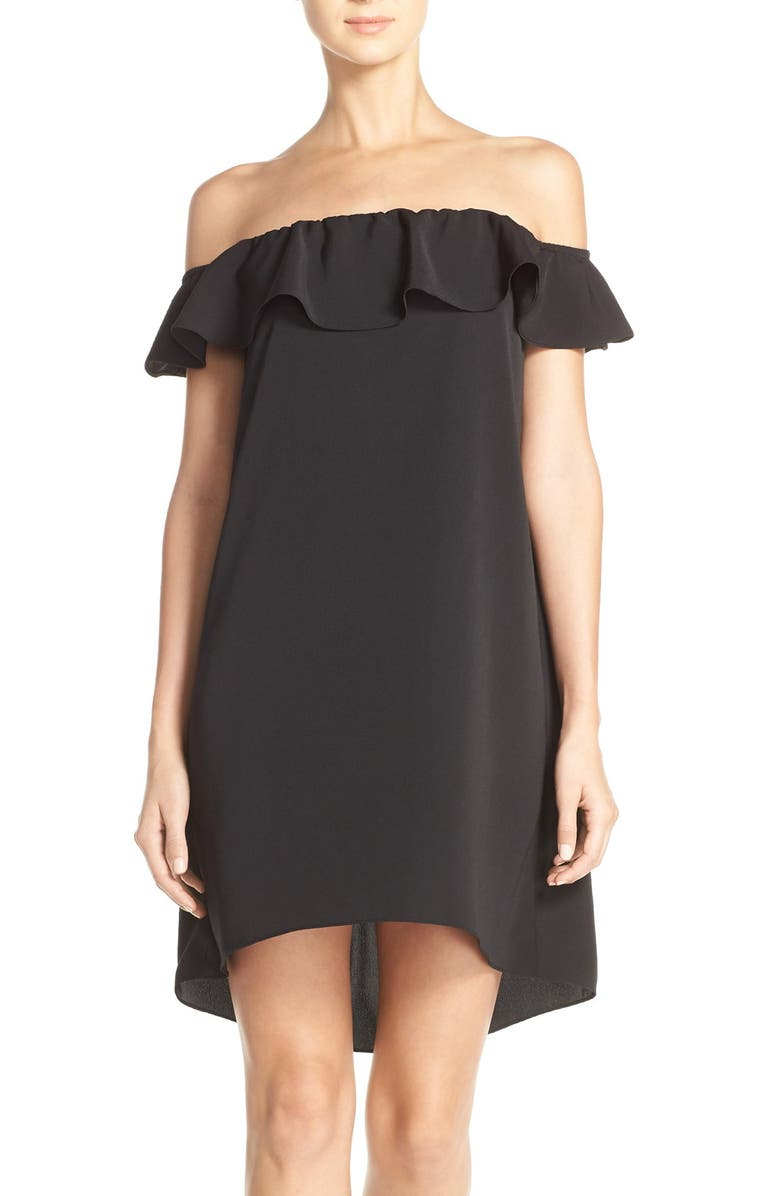 A BY AMANDA 'Joanna' Ruffle Off-the-Shoulder Shift Dress, Main, color, 001