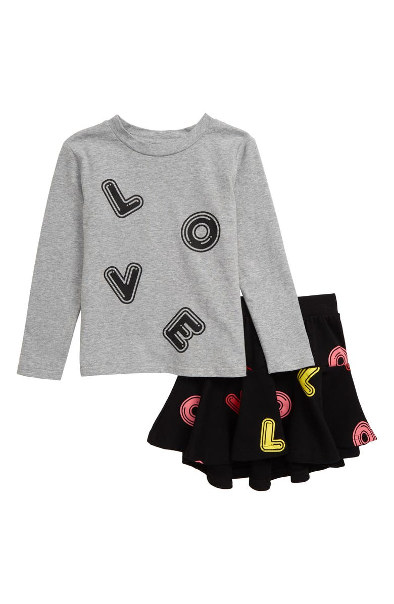 TINY TRIBE Love Tee & Skirt Set, Main, color, GREY MARLE / BLACK