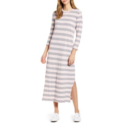 Lucky Brand Rugby Stripe Long Sleeve Maxi Dress, Pink