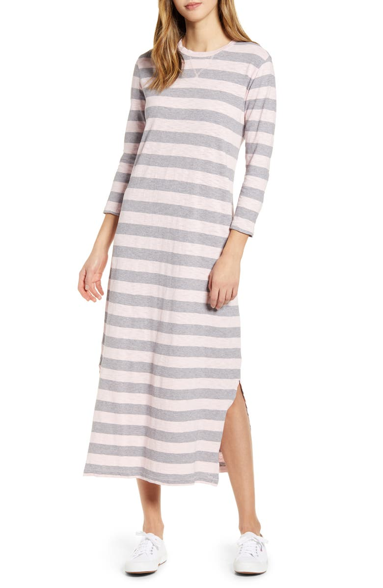 LUCKY BRAND Rugby Stripe Long Sleeve Maxi Dress, Main, color, 690