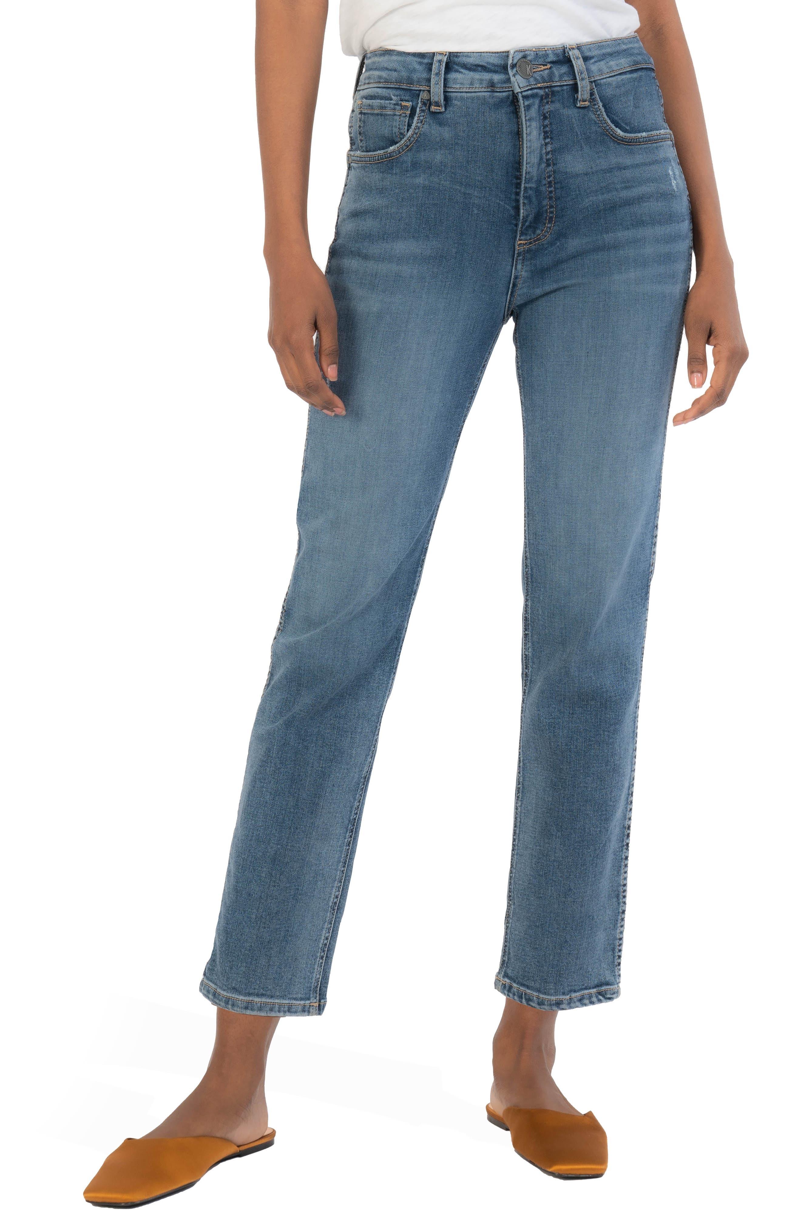 Elizabeth Fab Ab High Waist Crop Straight Leg Jeans