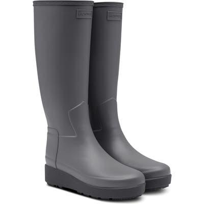 Hunter Refined Creeper Tall Rain Boot, Grey