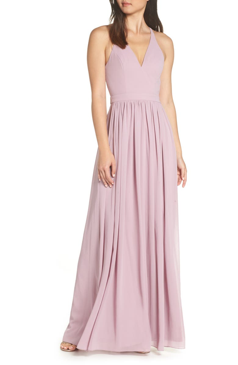 LULUS Everlasting Beauty Lace Back Chiffon Gown, Main, color, LAVENDER