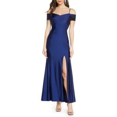 Morgan & Co. Cold Shoulder Portrait Collar Mermaid Gown, Blue