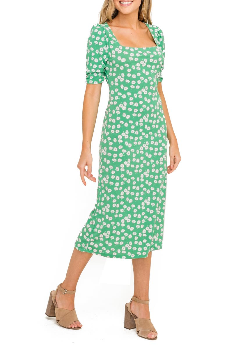 ALL IN FAVOR Floral Print Midi Dress, Main, color, GREEN WHITE POPPY