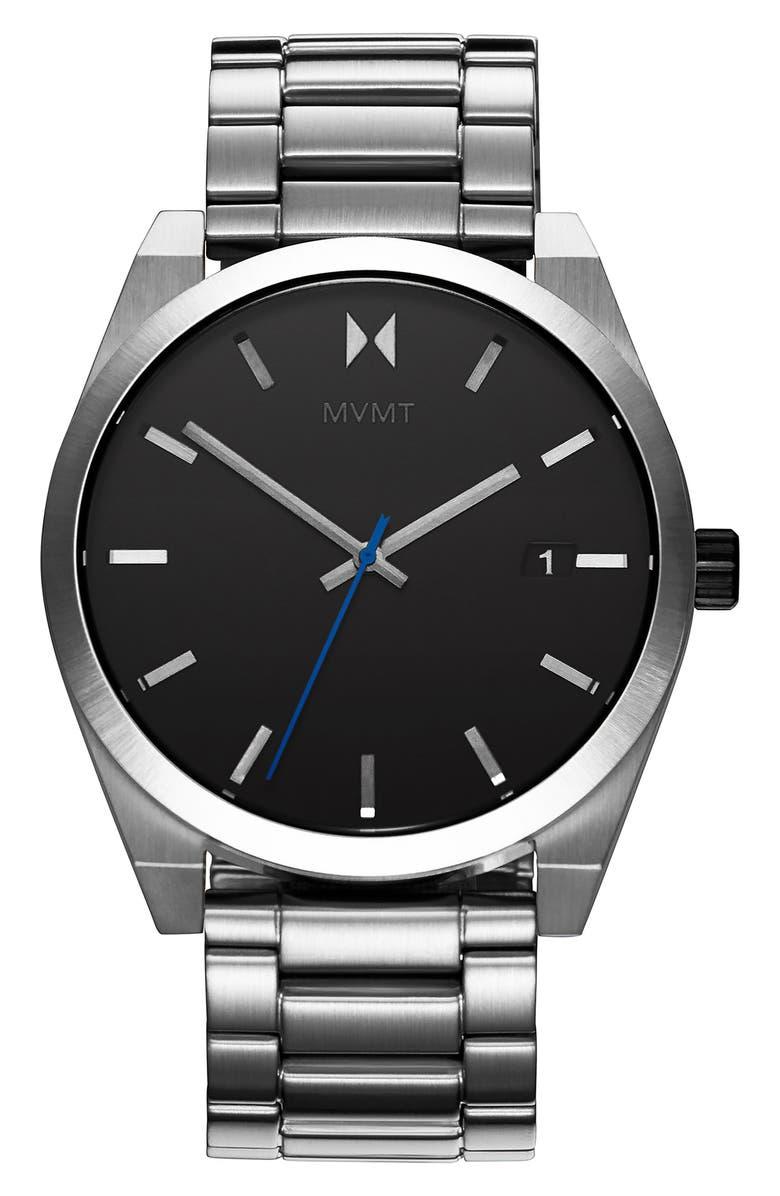 MVMT Element Bracelet Watch, 43mm, Main, color, SILVER/ BLACK/ SILVER