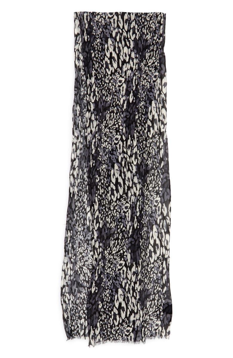 Saint Laurent Long Plisse Leopard Print Silk & Cotton Scarf -Black