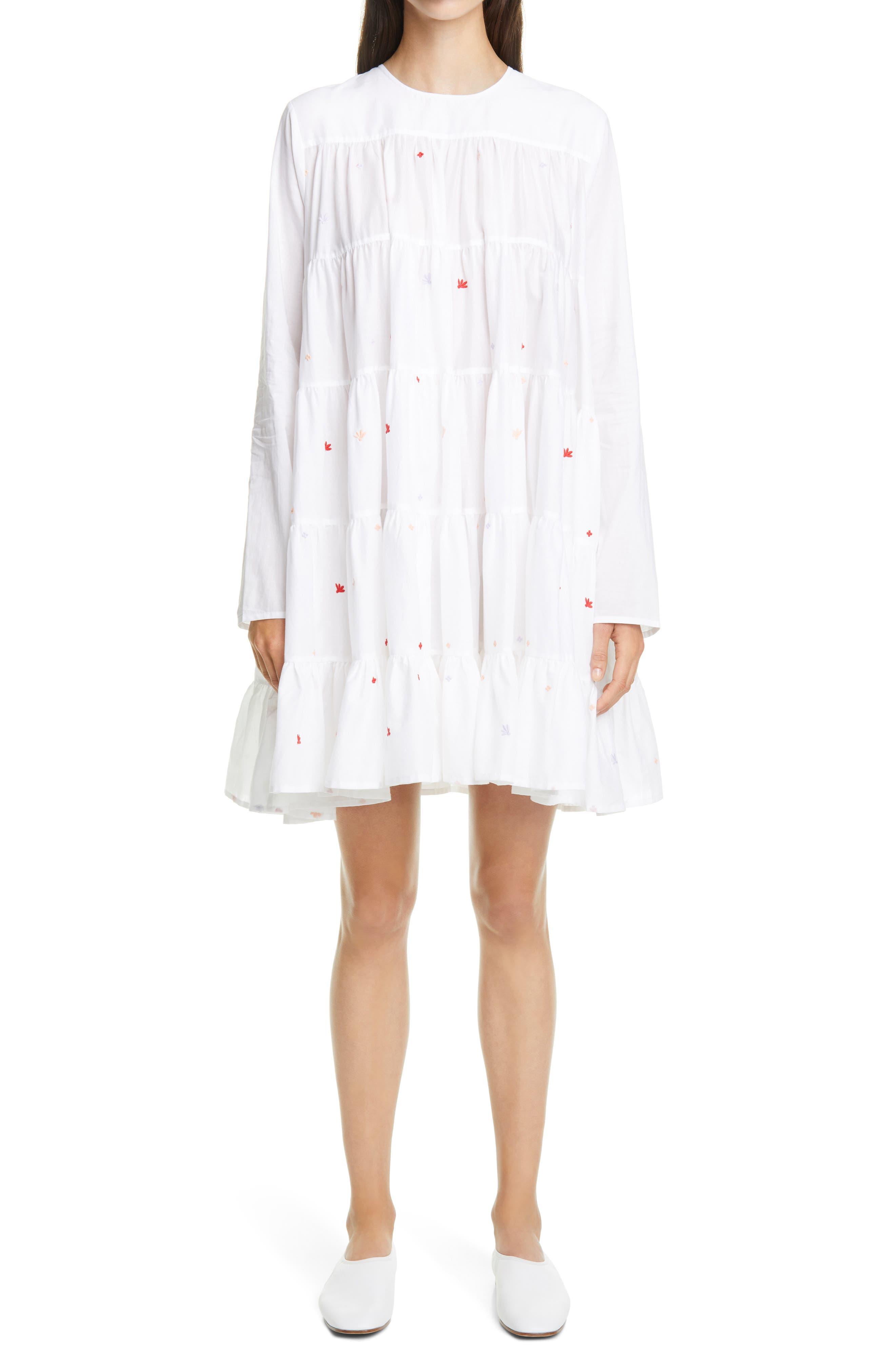 Merlette Soliman Embroidered Long Sleeve Babydoll Dress | Nordstrom