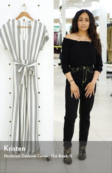 Angela Stripe Short Sleeve Jumpsuit, sales video thumbnail