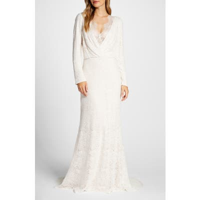 Tadashi Shoji Drape Neck Long Sleeve Lace Wedding Dress, Ivory