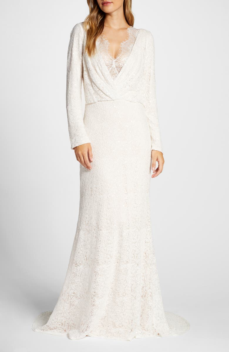 Tadashi Shoji Drape Neck Long Sleeve Lace Wedding Dress Nordstrom