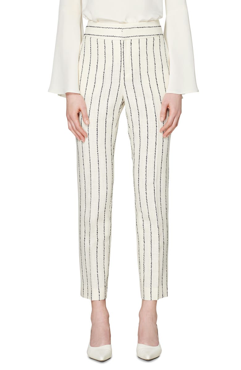 SUISTUDIO Lane Classic Trousers, Main, color, WHITE STRIPE