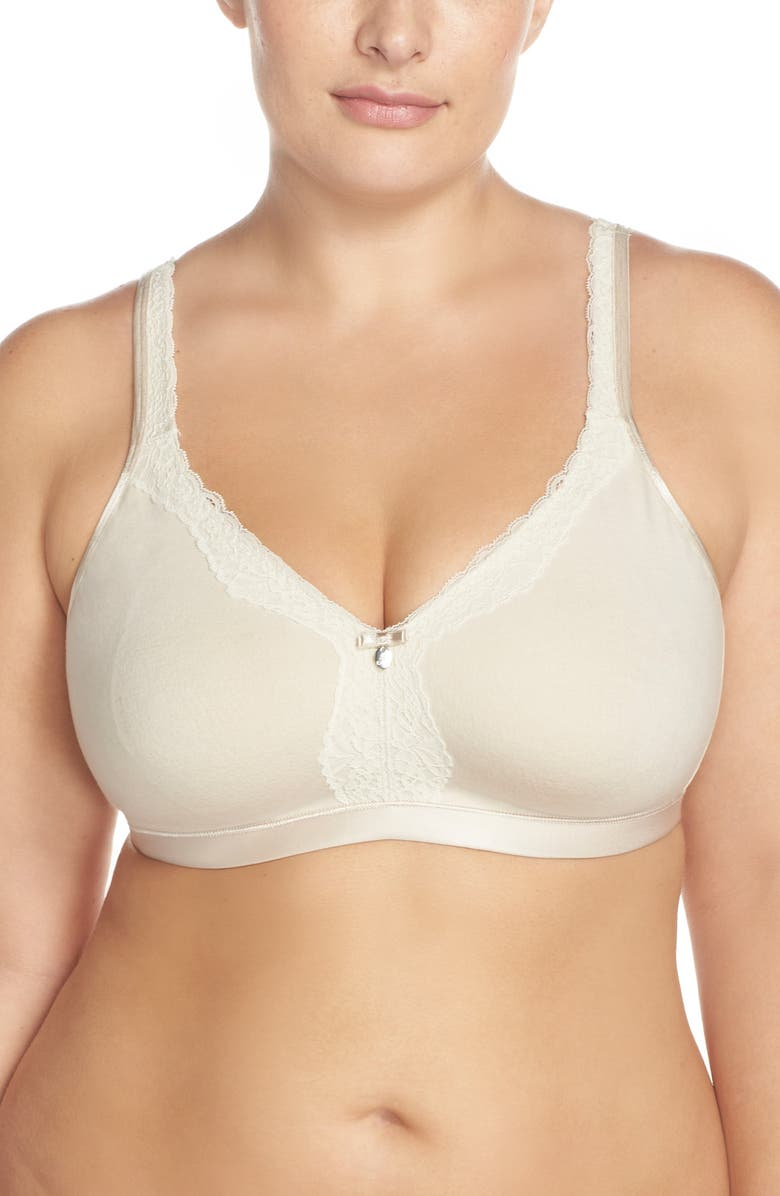 CURVY COUTURE Lace Trim Wireless Bra, Main, color, NATURAL